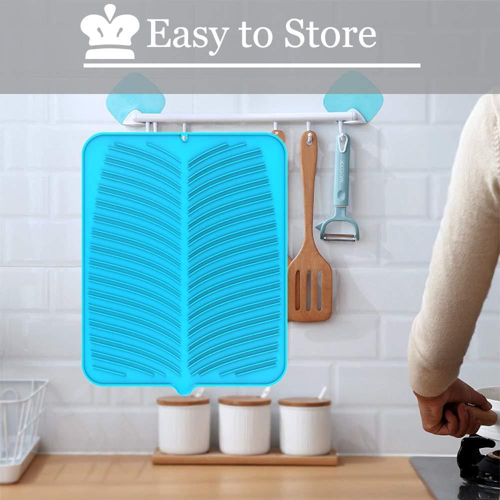 Alfombrilla Escurreplatos Fregadero Plegable Para Secar Cubiertos y Vajilla Azul Alfombrilla Escurreplatos De Silicona,Grande Tapete Escurridor Para Encimera Cocina