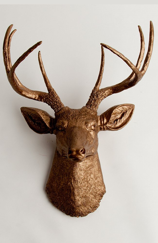 Faux Taxidermy Deer Head Wall Mount, The Bennett in Bronze Resin by White Faux Taxidermy Animal Head Decor