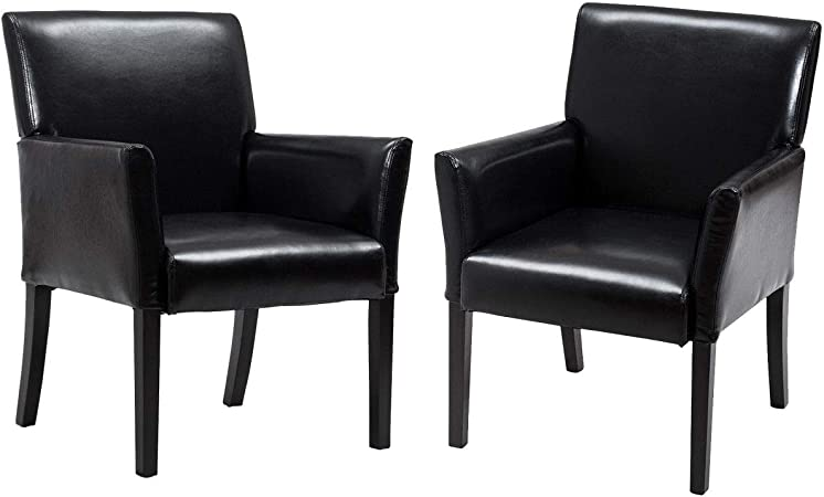 DM Furniture Reception Chairs Leather Conference Chair Heavy Duty Back Support Office Guest Chair Set of 2 Black