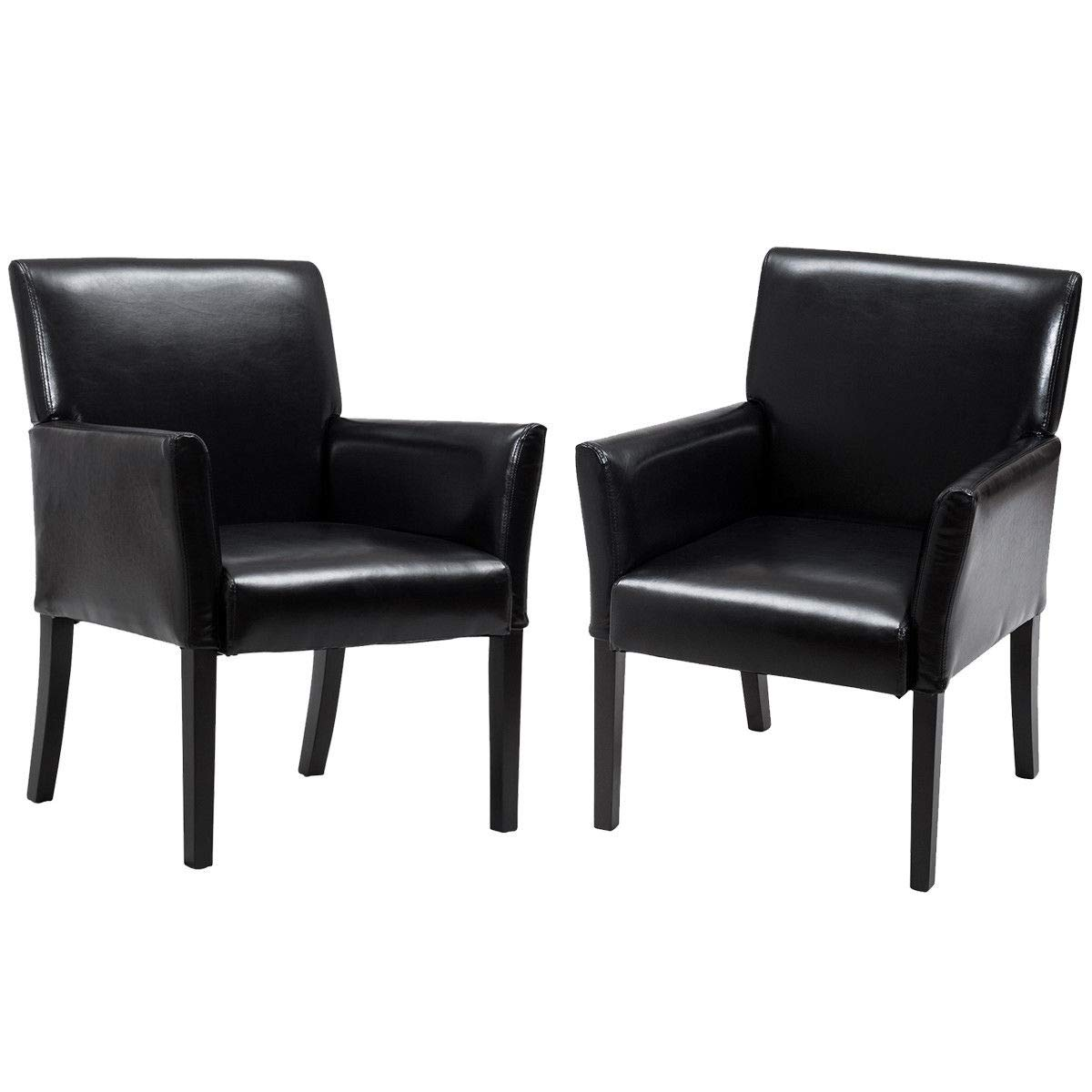 Giantex Leather Reception Guest Chairs Set Office Executive Side Chair Padded Seat Ergonomic Mid-Back Meeting Waiting Room Conference Office Guest Chairs w/Arms, Black (2 PCS)