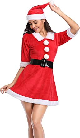 Mrs. Claus Costume Christmas Role Play Outfits Dress for Women Sexy Hot Christmas Outfit Vintage Lingerie Costumes