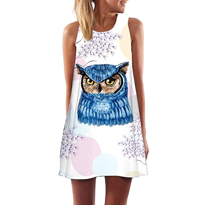 Kid Girl 3D Galaxy Cat Print Sleeveless Tunic Shirt Dress Knee Length Vest Dress