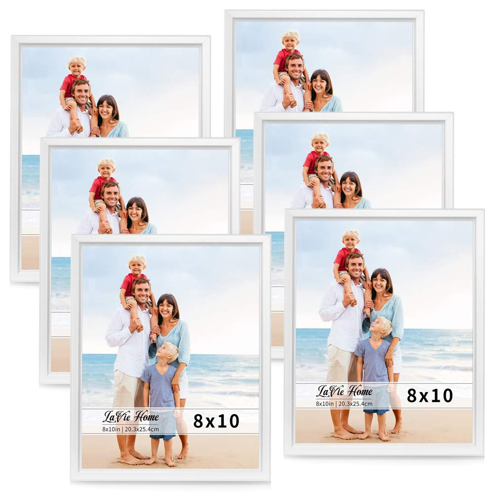 LaVie Home 8x10 Picture Frames (6 Pack, White) Simple Designed Photo Frame with High Definition Glass for Wall Mount & Table Top Display, Set of 6 Classic Collection by LaVie Home