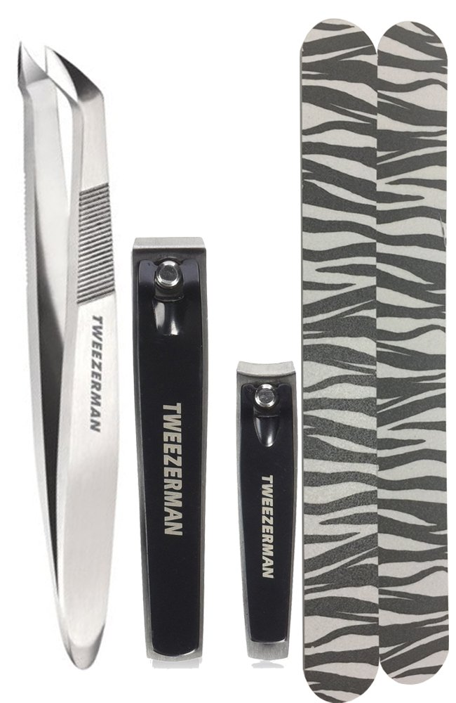tweezerman nail clipper v cuticle nipper bundle set 2pc nail file colors vary ebay. Black Bedroom Furniture Sets. Home Design Ideas