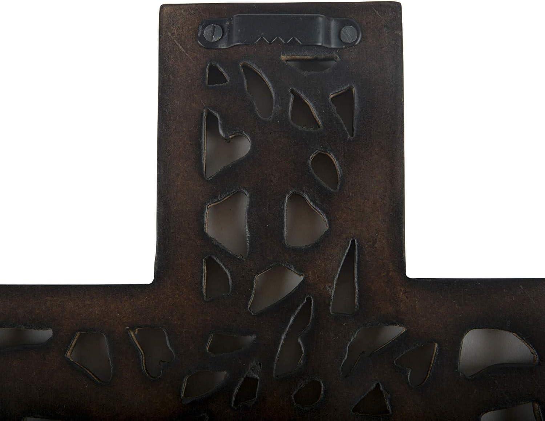 30,5 x 20,3 cm D/écoration de maison chapelle /Église D/écoration florale Finition rustique antique D/écoration de salon autel Plaque murale en bois avec crucifix religieux catholique