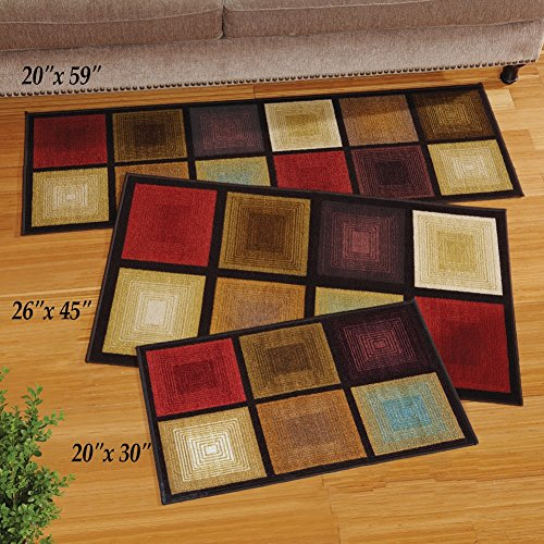 Collections Etc Optic Squares Skid-Resistant Accent Rug, Brown, 26 X 45
