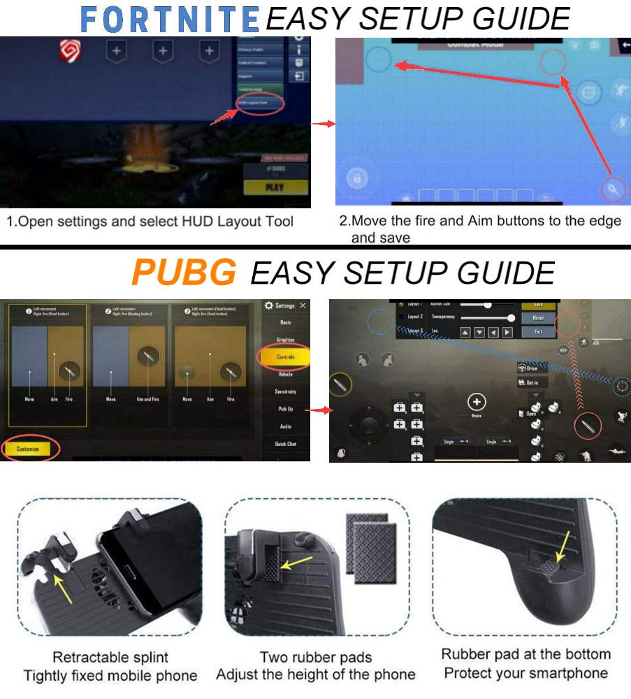 Mobile Game Controller [Upgrade Version] Mobile Gaming Trigger for PUBG/Fortnite/Rules of Survival Gaming Grip and Gaming Joysticks for 4.5-6.5inch Android iOS Phone by SVZIOOG (Image #5)