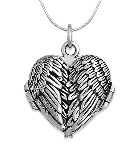 Genuine 925 Sterling Silver Angel wings locket Necklace on 18