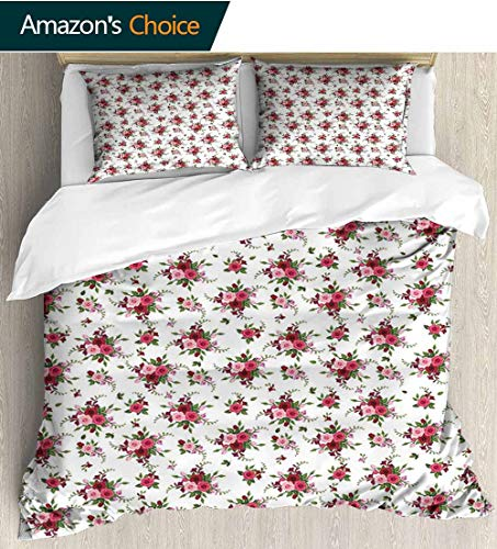 shirlyhome Flowers 3 PCS King Size Comforter Set,Bridal Bouquets Pattern with Roses and Freesia Romantic Victorian Composition with 1 Pillowcase for Kids Bedding 80