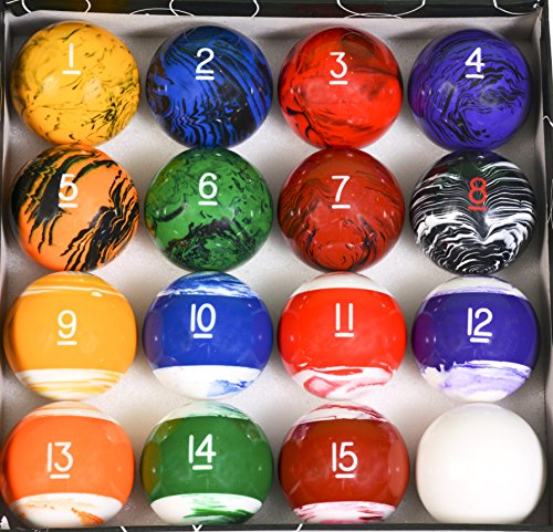 Iszy Billiards Tech Marble Style Pool Table Billiard Ball Set, Regulation Size & Weight ()