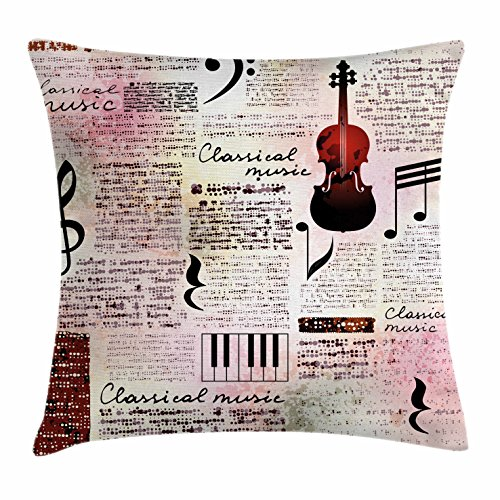 Newspaper Cover (Old Newspaper Decor Throw Pillow Cushion Cover by Ambesonne, Classical Music Theme Instruments Piano Violin Notes Symbols, Decorative Square Accent Pillow Case, 16 X 16 Inches, Ruby Light Pink Black)