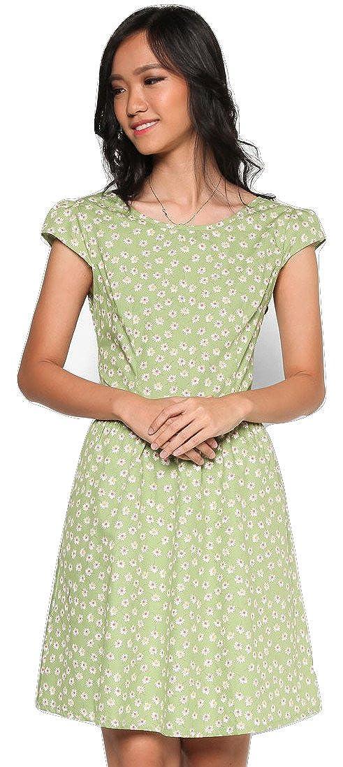 MOJONET Womens Light Green Cottage Dress Featuring White Little Daisy Prints