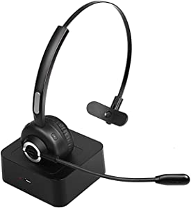Bluetooth Headset with Noise Canceling, Knofarm Trucker Bluetooth Headset with Microphone for Skype, PC, Call Center, Cellphone, Online Teaching, Conference Calls, 17 hrs Working Time for Long Haul