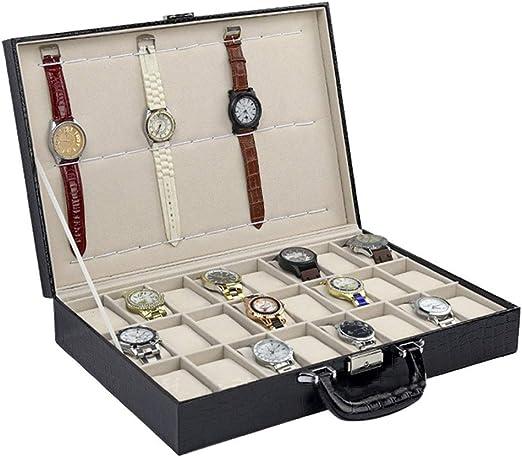 24 + 12 caja de reloj portátil, caja de almacenamiento de caja de ...