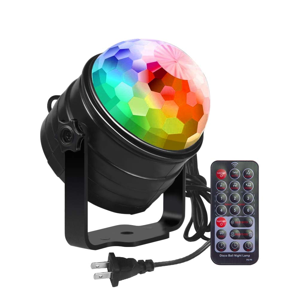 Zbrqotl DJ Party Light 6w Disco Ball Strobe Light for Parties 6 Color Sound Activated Lamp by Zbrqotl