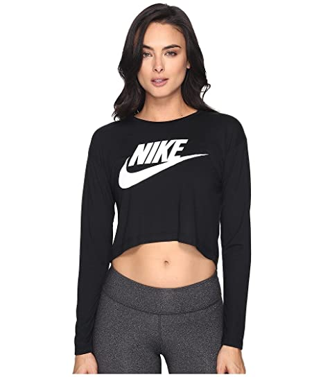 b4fb82b76fb6 Amazon.com  NIKE Women s Sportswear Graphic Long-Sleeve Crop Tee (XL ...