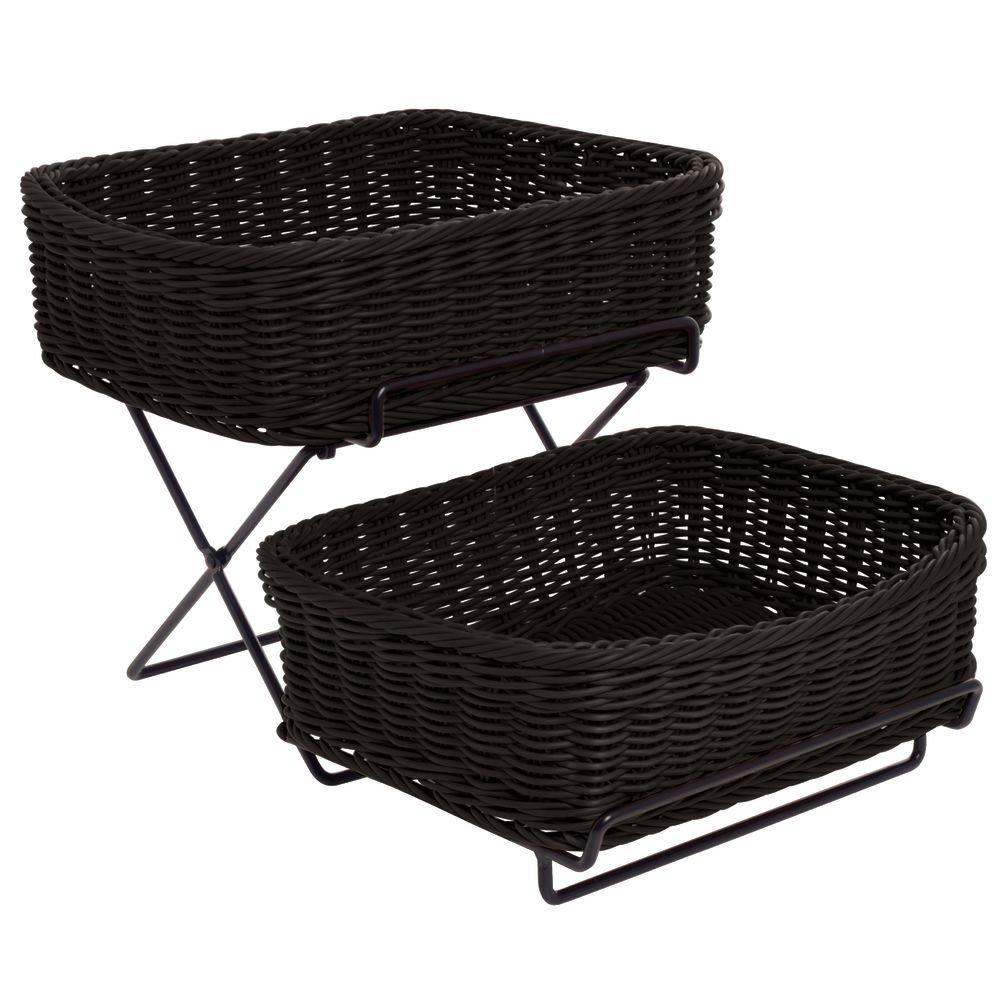 Merchandising Rack, 2-Tier with 2 Black Synthetic Wicker Baskets - 13''L x 18''W x 11 1/4''H by HUBERT