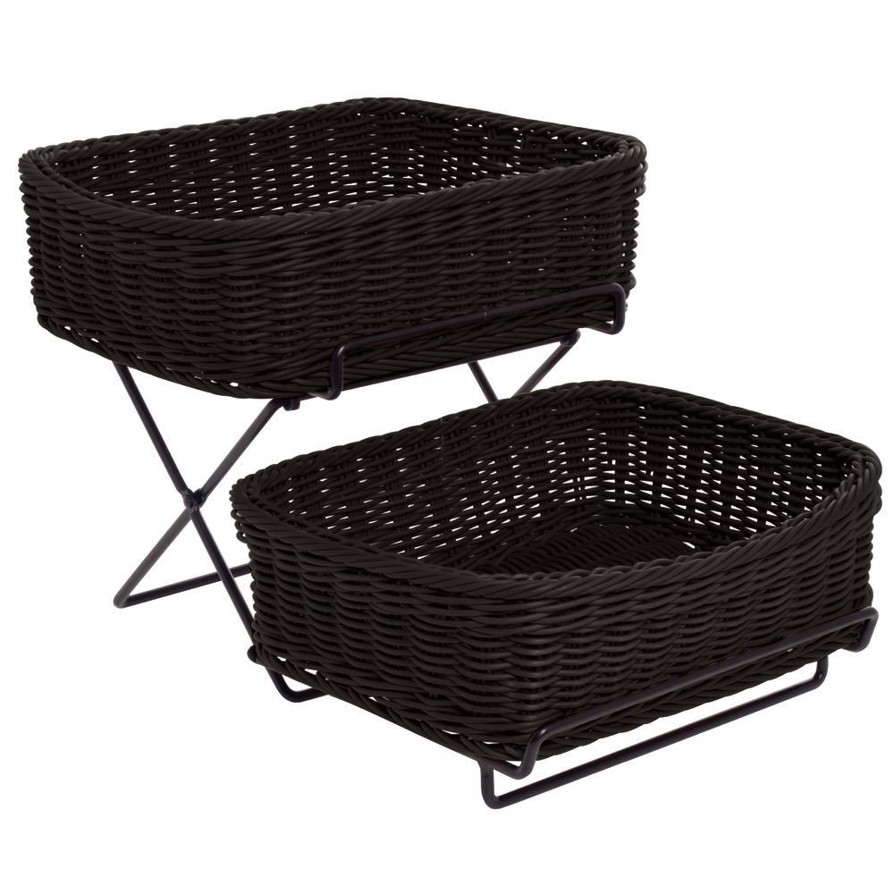 Merchandising Rack, 2-Tier with 2 Black Synthetic Wicker Baskets - 13''L x 18''W x 11 1/4''H
