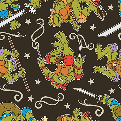 Nickelodeon Teenage Mutant Ninja Turtles Fabric TMNT Fabric Turtle Action Dark Olive Charcoal from Springs Creative 100% Cotton Fabric by The Yard -