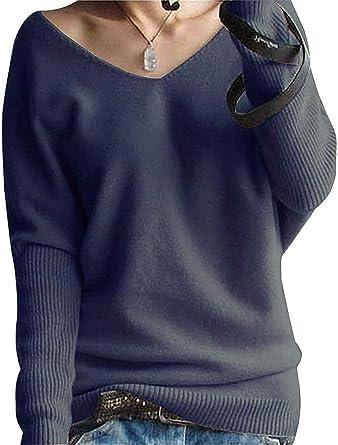 Liny Xin Jersey Suéter para Mujer de Cuello en V de Manga Larga Otoño e Invierno de Punto de Lana Merino
