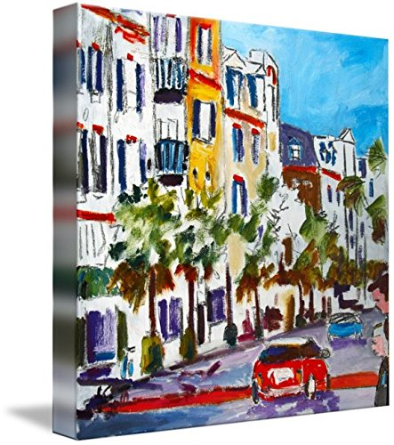 Wall Art Print entitled King Street Shopping Charleston SC Oil Painting by Ginette - Charleston Street Kings