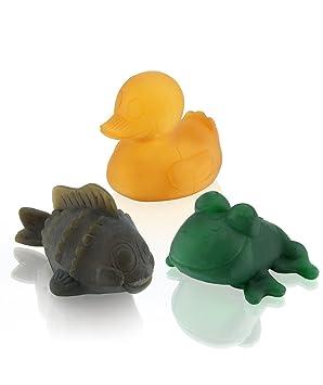 Hevea- Natural Pack de Regalo Pond - 3 Juguetes de baño de Colores (3)
