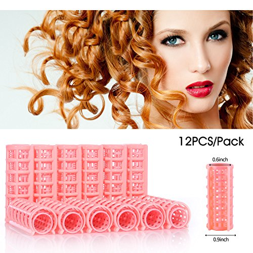 Yousha 12Pcs Self-grip Plastic Hair Rollers Pro Salon Hair Styling Curlers Clips for Women Ladies (20 x70 mm, Pink) by Yousha
