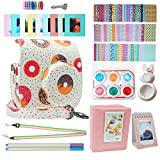 Blummy Instant Camera Accessories Bundles Set for Fujifilm Instax Mini 8/Mini 8+/Mini 9 Including Camera Case/Book Album/Selfie Len/Wall Hanging Frames/Stickers/Strap/Pen (Donuts)