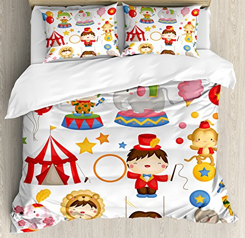 Ambesonne Circus Decor Duvet Cover Set King Size, Carnival C
