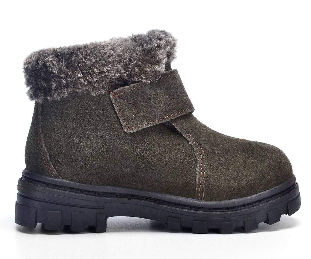 DADAWEN Boy's Girl's Classic Waterproof Suede Leather Snow Boots (Toddler/Little Kid/Big Kid) Green US Size 11 M Little Kid by DADAWEN (Image #4)