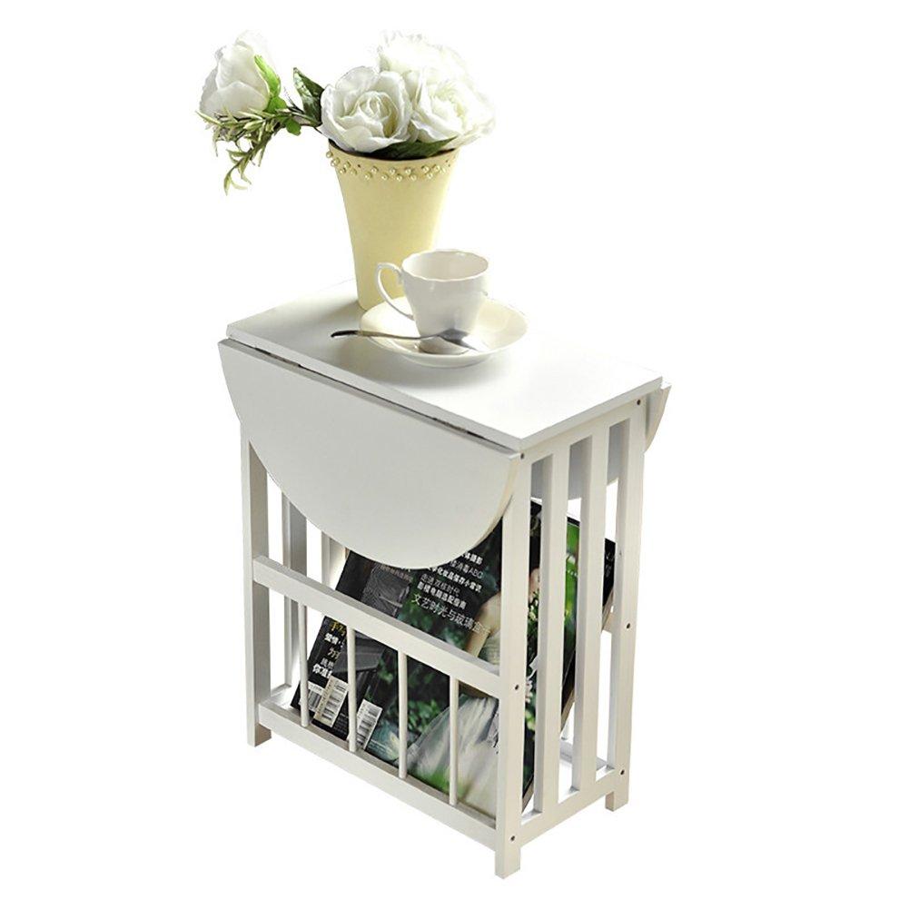 D&L Wasserdicht Folding Beistelltisch, Oval Sofatisch Schlafzimmer Nachttisch Wohnzimmer Couchtisch Moderne Vintage Telefontisch-Weiß 56.5x49cm