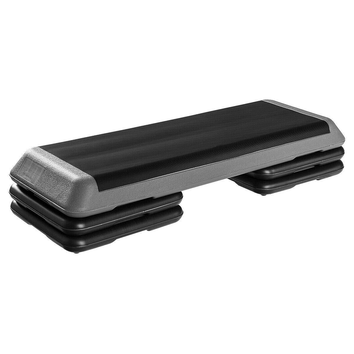 Goplus 43'' Step Platform Adjustable Fitness Aerobic Stepper 4'' - 6'' - 8'' Non-Stick Surface W/Risers (Gray)
