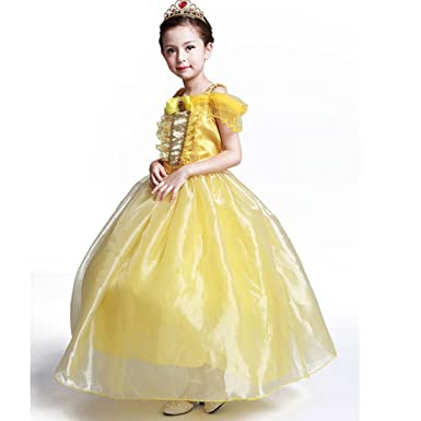 b1a9547b094 Amazon.com  Summer New Girls Beauty and Beast Belle Princess Dress Festival  Performance Dress Skirt Cosplay Children Princess Dress  Clothing