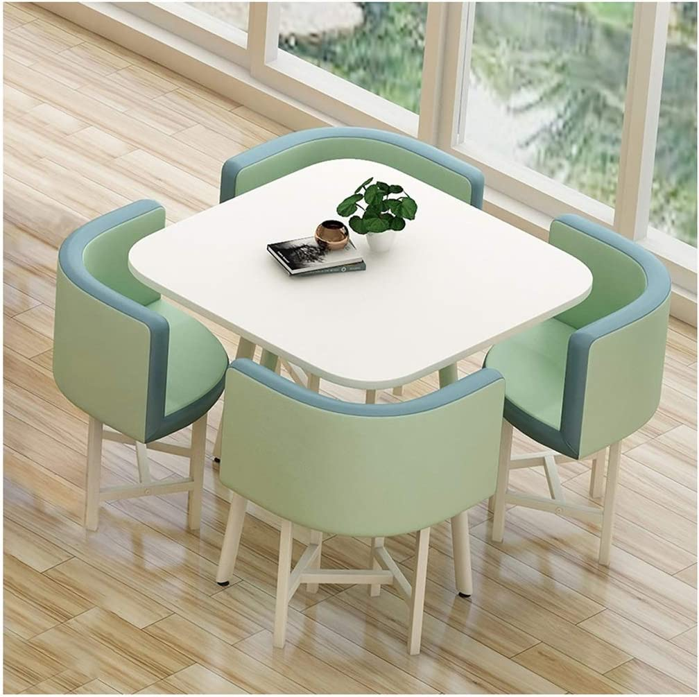Amazon Com Coffee Table And Chair Combination Hotel Reception Milk Tea Shop Clothing Store Office Tables And Chairs Casual And Simple Lounge 80cm Square Table Leather Library Sales Conference Table And Chairs