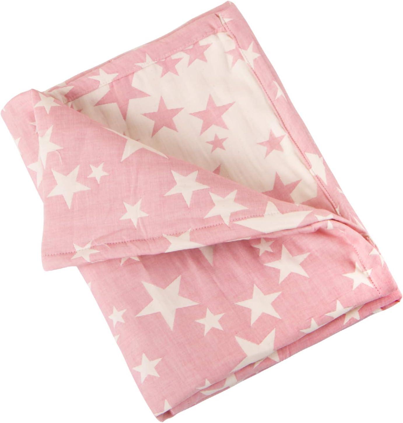 NTBAY Manta de bebé de 3 capas, manta de muselina recién nacida súper suave y transpirable para todas las estaciones, 76x102 cm, Estrella Rosa