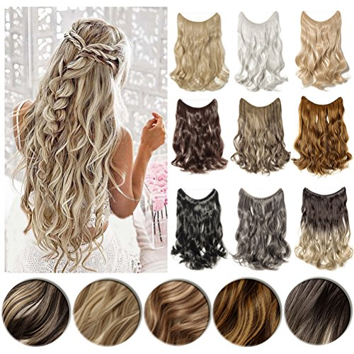 "Long 20-24inch Straight/Wavy Curly Secret Wire Natural Hidden Invisible Wire Synthetic Hairpieces No Clips Hair Extensions Adjustable Transparent Wire (20""-Curly, Golden Mix Bleach Blonde) …"