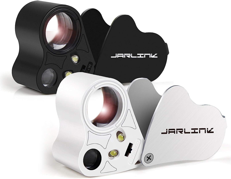 30x 60x 2-Lens Jewelers Eye Loupe Loop Glass Magnifier LED Light Illuminated Magnifying