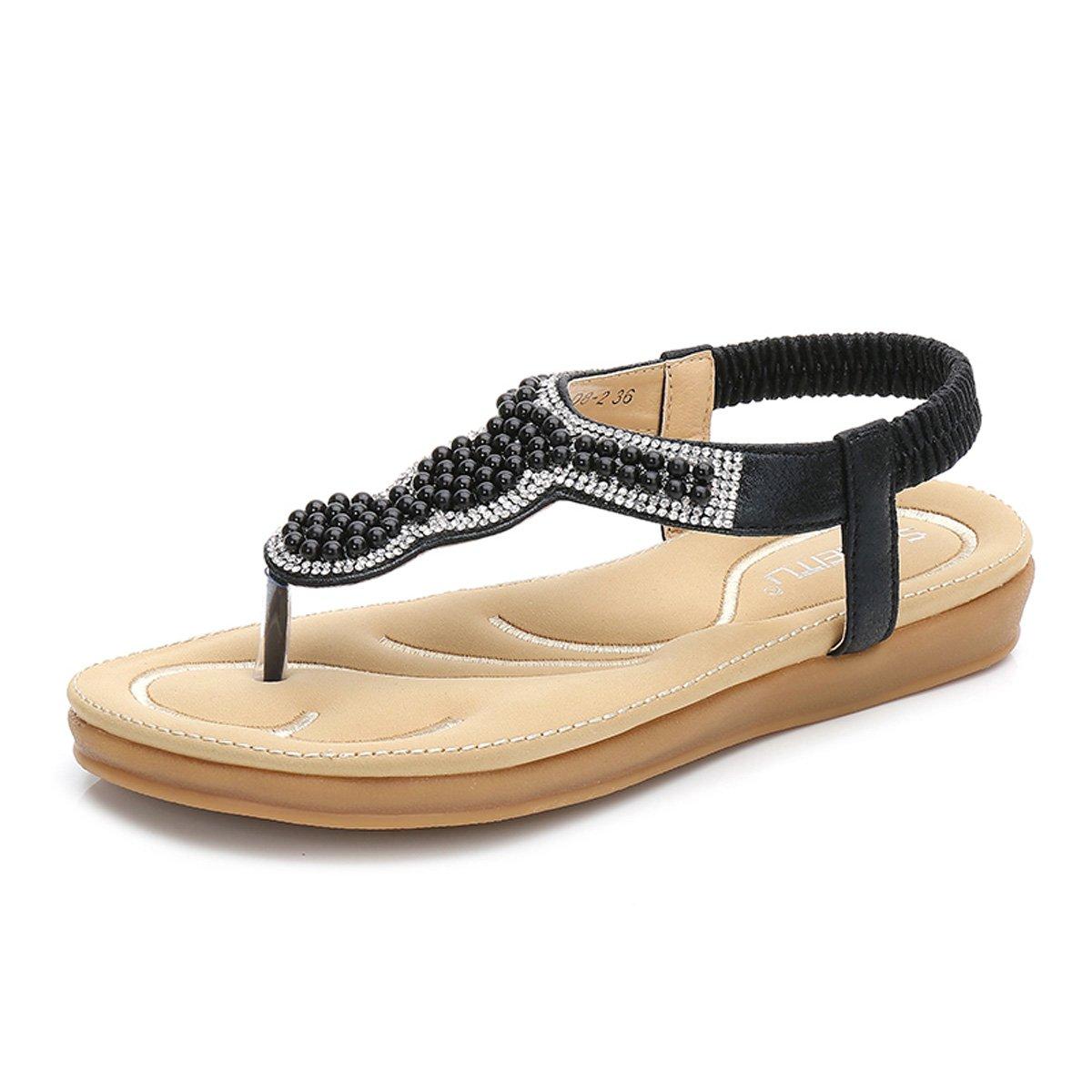 gracosy Damen Sandalen, Flip Flops Sommer Sandals Flach Zehentrenner T-Strap Offen Bouml;hmische Strand Schuhe  36 EU Schwarz-a