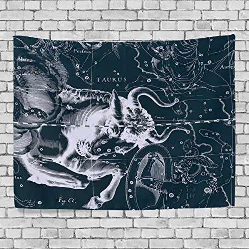 WellLee Wall Tapestry,Fantasy Constellation Graph Taurus,Dorm Throw Bedroom Living Room Window Doorway Curtain Home Decor,Tapestry Wall Hanging,90x60 (Glitter Wall Hanging)
