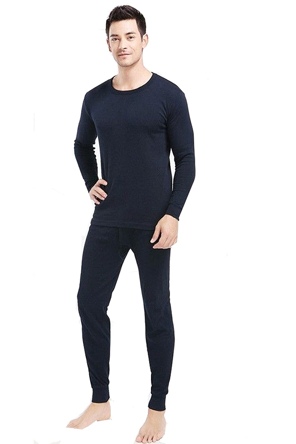 Men's 2 Pcs Thermal 100% Pure Cotton(240 Gsm) Long Sleeve Top & John Set