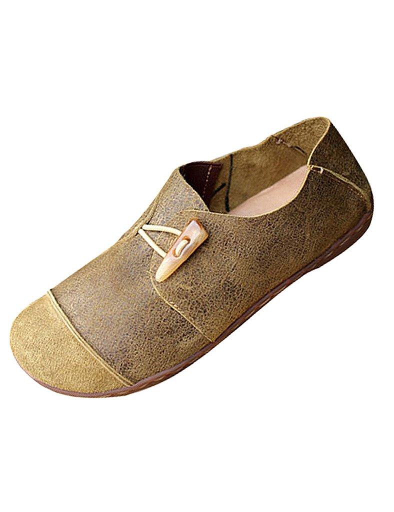 Youlee Mujeres Vendimia Zapatos de plataforma Zapatos planos de cuero EU 39/CH 40|Verde claro