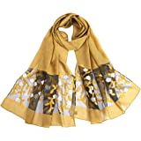 Zcuhen Scarfs for Women Lightweight Floral Birds Print Shawl Wraps Holiday Scarf Gift Lightweight Floral
