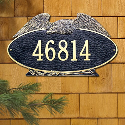 - 1 Line Custom Oval Eagle Estate Wall Address Plaque (24 inches Wide by 14 inches High)