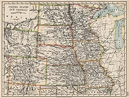 Amazoncom USA PLAINS STATES Iowa Minnesota Kansas NE ND SD - Vintage iowa map