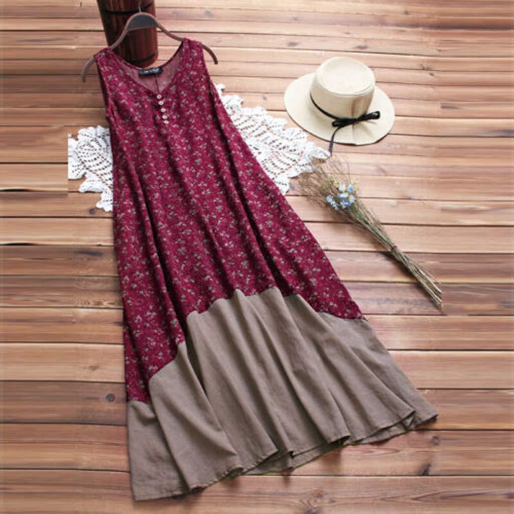 OTINICE Plus Size Women Vintage Dresses Boho Retro Sleeveless Pleated Loose Long Maxi Dress