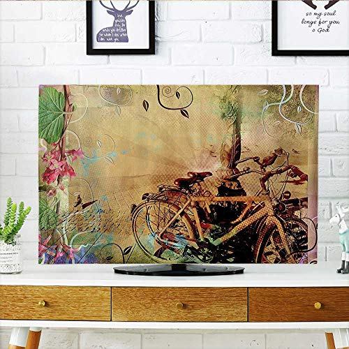 L-QN Cover for Wall Mount tv Double Exposure of Bikes in an Urban Strewith Retro Swirling Floral Backd Cover Mount tv W19 x H30 INCH/TV 32