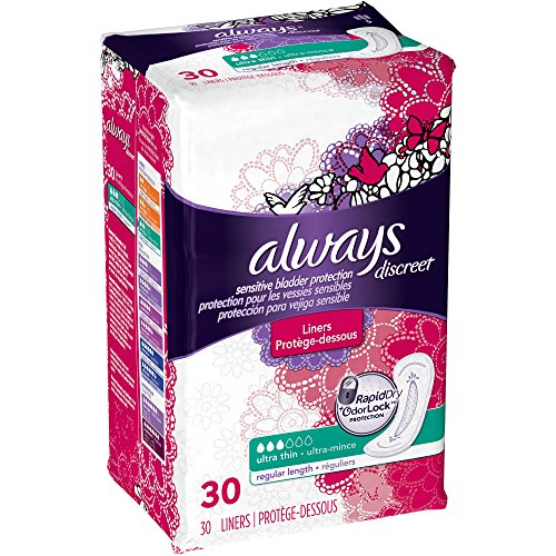 Always Discreet, Incontinence Liners, Ultra Thin, 30 Count (Pack of 2) (regular length) (Always Liners Discreet compare prices)