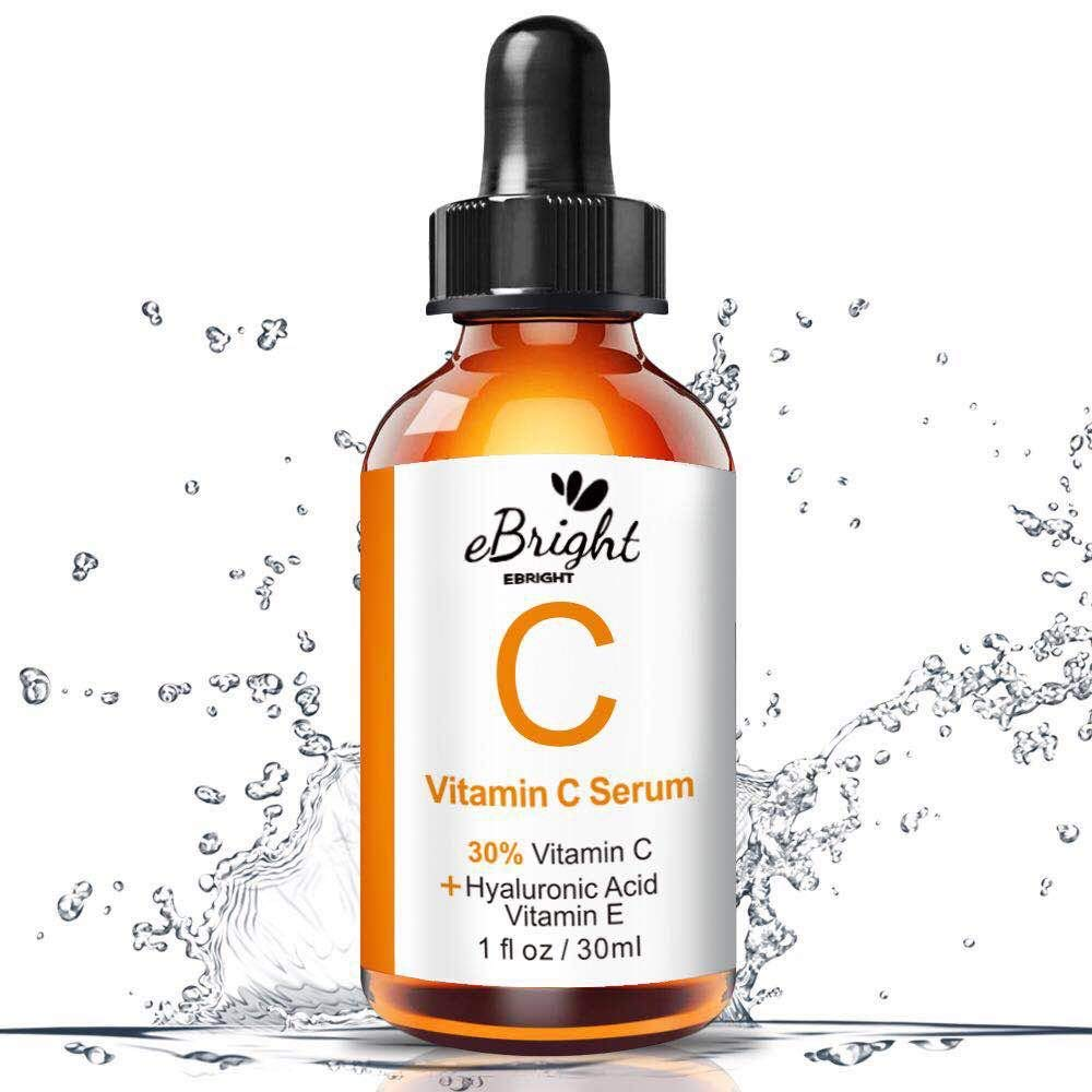 Super Vitamin C Serum for Face, Anti Aging & Anti Wrinkle Whitening Facial Serum with Niacinamide, Vitamin E, Hyaluronic Acid, and Salicylic Acid, 1 oz (Orange)