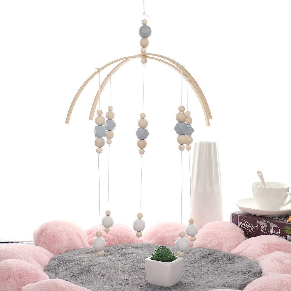 Dormitorio Warooma Regalos para beb/és Accesorios para fotograf/ía Techo Adornos Colgantes de Madera Campanilla de Madera para Cuna de beb/é