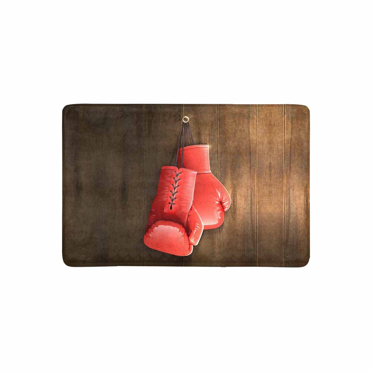InterestPrint Red Realistic Boxing Gloves on Wooden Wall Doormat Non Slip Indoor/Outdoor Floor Mat Home Decor, Entrance Rug Rubber Backing 23.6''(L) x 15.7''(W)